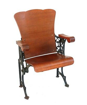 Victorian Theater Seat Cherry Wood Ornate Cast Iron Hat Wire Local Pick Up