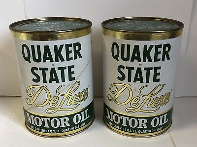 2 Quaker state Deluxe Oil cans 10w-40hd full 1 quart cans
