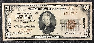 1929 $20 San Francisco U.s. National Currency Note Brown Seal ~G Condition! Nr!