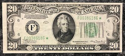 1934 $20 Star Note U.s. Federal Reserve Note Frn ~ Very Fine+ Condition! Nr!