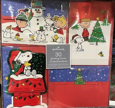 Peanuts Charlie Brown Snoopy Christmas Cards 30 count 3 designs by Halllmark