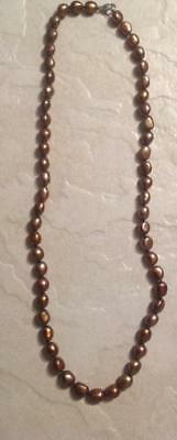 """QVC Honora Chocolate Brown Cultured Freshwater Pearl Necklace Sterling Clasp 22"""""""