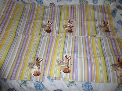 6 Longaberger Easter Rabbit Spring  Embroidered  Yellow & Purple Placemats