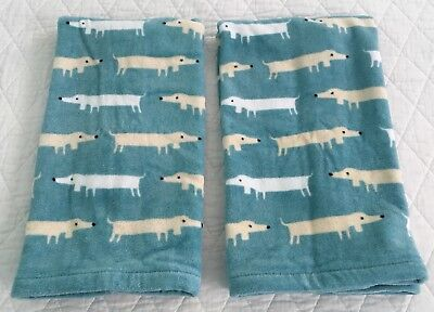 Artisan Deluxe Dachshund Wiener Dog Cotton Hand Towels Teal Blue White Ivory NEW