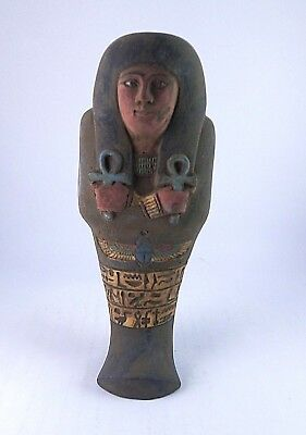 ANCIENT EGYPTIAN USHABTI Queen Statue With Hieroglyphics 1458-1236 BC