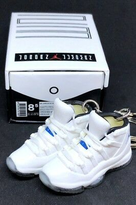 9f0b3a48adc864 Pair Air Jordan Xi 11 Retro Og Legend Blue Keychain 3D Sneaker Shoes Figure +Box