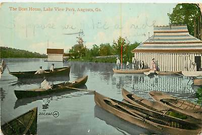 Georgia, GA, Augusta, Boat House, Lake View Park 1911 Postcard