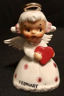Vintage Norcrest Bell of the month February Heart Girl Bell Valentine Japan