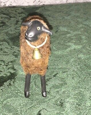 Antique handcrafted wood carved sheep with actual wool and bell USA farm toy