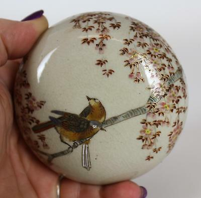 Antique Signed Japanese Satsuma Pottery Round Box, Song Bird Painting, NR