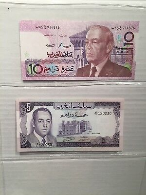 Lot Of 2 Morocco Banknotes Choice UNC 1970 and 1987