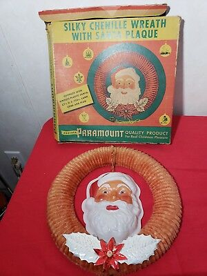 Vintage Paramount Silky Chenille Wreath With Santa Plaque ** Works**