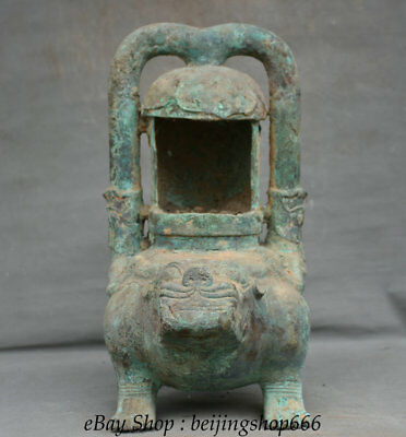 """15.2"""" Antique Chinese Bronze Ware Dynasty Beast Portable Palace lantern lamp"""