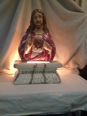 "Vintage Chalkware/Plaster Lighted Jesus Bust/Table Statue~God Bless Our Home16""H"