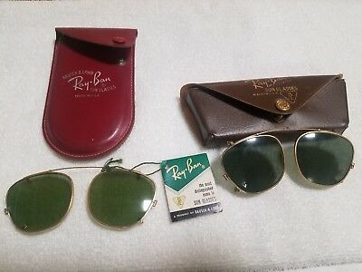 Vintage Ray-Ban Clip On Sunglasses Antique Bausch & Lomb Glasses, Lot of (2) NOS