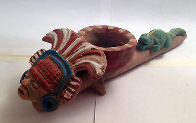 Big and Rare Clay Pipe of Peace w/ Pagan Aztec God and Lizard. Mexican Art, Clay