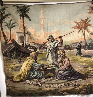 Tapestry Woven Wall Hanging Men In Arab Desert Camp Middle East Made In Belgium