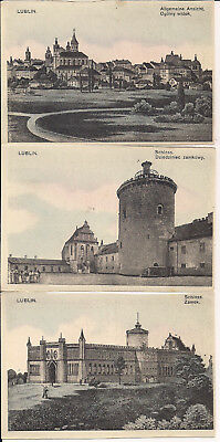 Postcard Lot, Lublin, Poland, ca 1910, Polish & German, Train Station, Castle