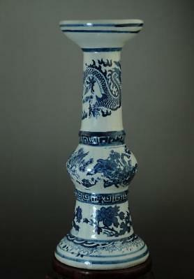 China Old Hand-Made Blue And White Porcelain Hand Painted Dragon&crane Vase C01