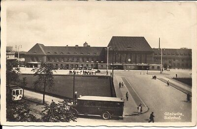 RPPC Gleiwitz, Gliwice, POLAND, GERMANY, 1930, Train Station, Trolley, Silesia