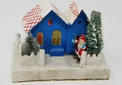 Vintage Christmas Putz Cardboard House Japan with Bisque Santa
