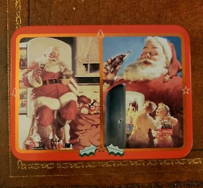 1995 Coca Cola Christmas Nostalgia Playing Cards 2 Sealed Packs In Collector Tin