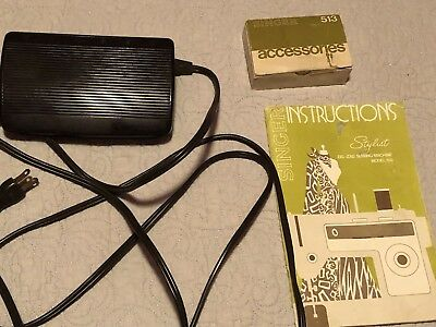 SINGER STYLIST FOOT PEDAL/CORD, Accessories & Instruction Manu SEWING MODEL 513