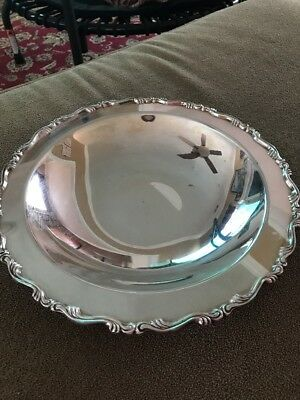"Vintage 12"" Silver Plated Footed Serving Bowl Dish (NS)"