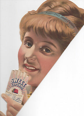 Cardboard Advertising Sign Sweet Caporal Cigarettes Kinney Bros c1880s