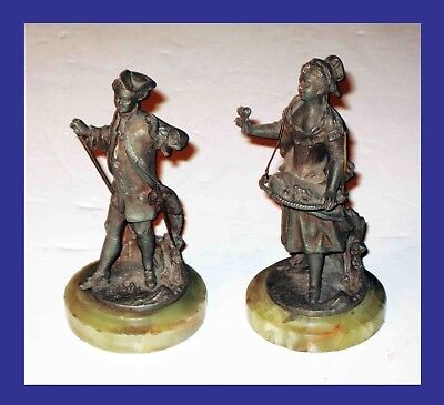"5"" Tall RENAISSANCE MAN w/Sword & Woman Spelter STATUES (2)on GREEN Marble Bases"