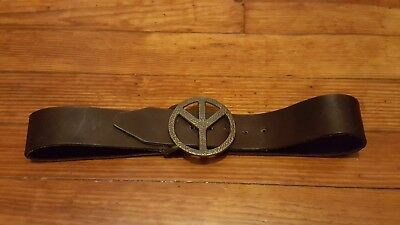 Vintage Brass Peace Sign Belt & Buckle Brown Leather Womens Small 28 Bohemian
