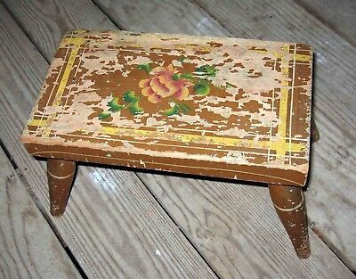 c1850s FLORAL Rose FLOWER Decorated 4 Leg PRIMITIVE Foot Stool-Yellow Pinstripes