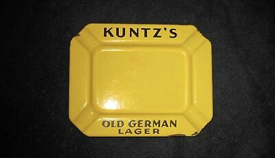 1920-30s KUNTZ'S OLD GERMAN LAGER - Yellow & Black PORCELAIN Advertising ASHTRAY