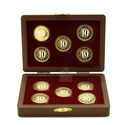 10Coin Wood Case Display Box Wooden Storage Holder Collection Round Capsule New