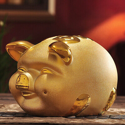 Gold Chinese Happiness Pig Piggy Bank Money Box Gift 2019 Year of the Pig