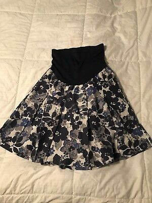 EUC A Pea In The Pod Maternity Cotton Floral Skirt Full Panel Size Medium
