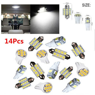 14Pcs White LED Interior Package Kit For T10&31mm Map Dome License Plate Lights~