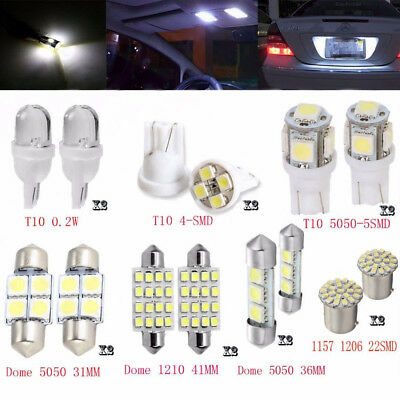 14Pcs White LED Interior Package Kit For T10 36mm Map Dome License Plate Lights~