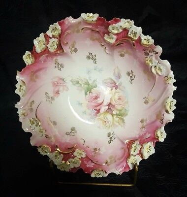 Antique Porcelain Bowl Hand Painted Red Crown Germany?