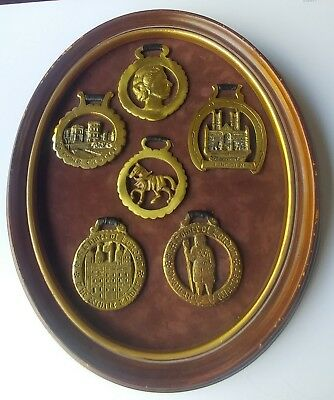 Vintage Framed Wall Hanging 6 Horse Brass Medallions Castles - Queen - Horse