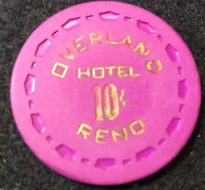 Overland Hotel $.10 Reno Nevada Vintage Casino Chip Fractional Clay 1st Issue