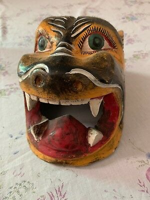 Vintage Hand Carved Tiger Mask Mexico Folk Art Over 30 Years Old