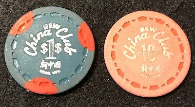 (2) Different New China Club $.10 & $1 Reno Nevada Casino Chip Lot 3rd Issue