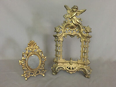 2 Antique Victorian Vintage brass gilded metal Picture Frames 1/w  Cherub Angel
