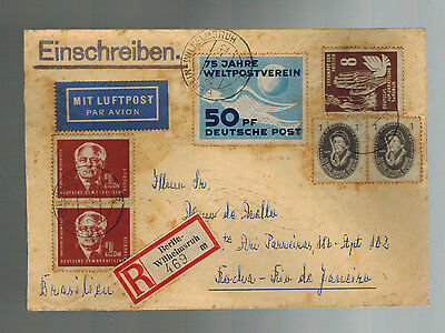 1951 Berlin East Germany DDR Cover to Brazil # 72 48 58 57