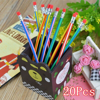 20Pcs Colorful Magic Bendy Flexible Soft Pencil Cute Student School with Eraser