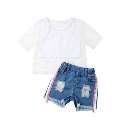 Cute Kids Baby Girl Star Tulle Vest Tops Denim Shorts 2PCS Outfit Clothes Summer