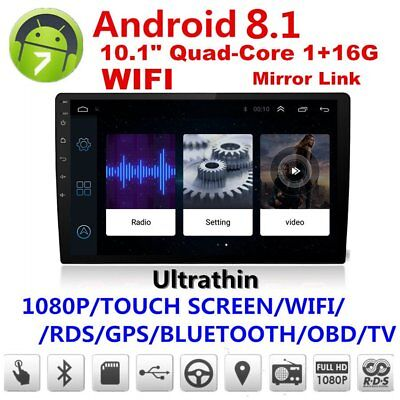 10.1in Android 8.1 Bluetooth Car GPS Navigator Stereo Radio Double 2 DIN MP5~