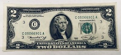 1976 $2 Two Dollar Note Bill OFF CENTER ERROR NOTE