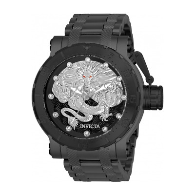 26512 Invicta Coalition Forces Dragon Lord TRIPPLE BLACK Silver SS Bracelet Watc